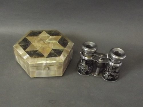 A hexagonal shaped abalone box and a pair of early