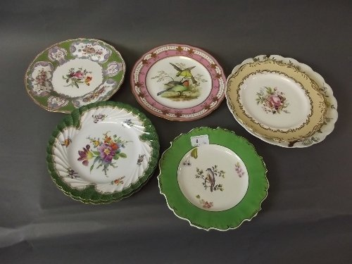 A pair of C19th Dresden hand painted cabinet plates, a