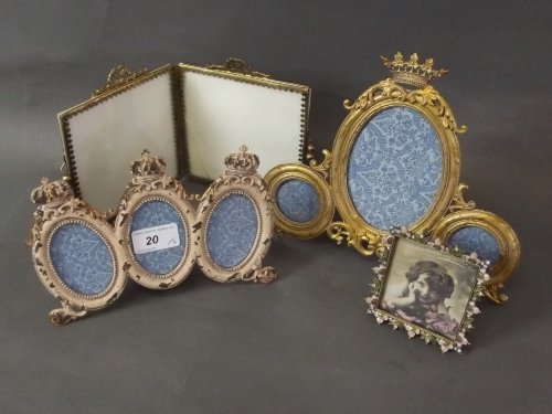 Two triptych photo frames with crown decorations, a