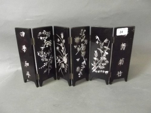 A Chinese 6 panel folding screen with inlaid Mother of