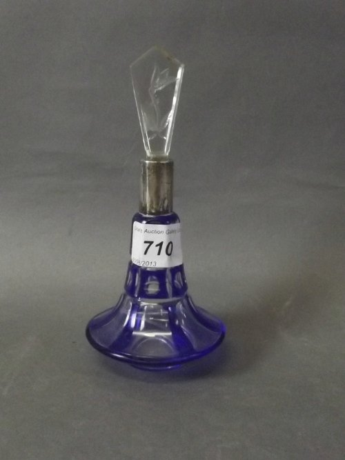 A Bohemian blue flash cut glass scent bottle with a
