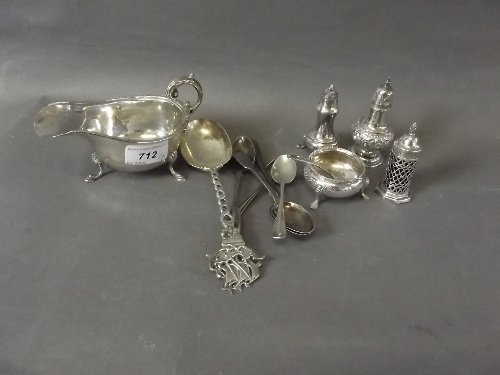 A quantity of Hallmarked silver to include a sauce