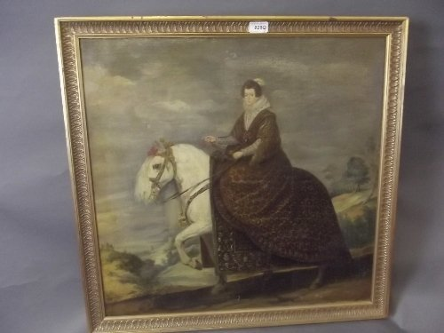 A pair of C18th oil on canvas, portraits of noble