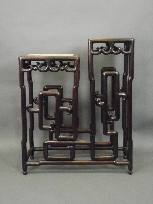 A good Chinese C19th hardwood 2 tier double stand with