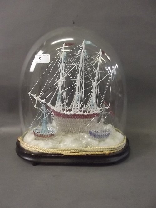 A large C19th Nailsea glass model of a 3 masted galleon