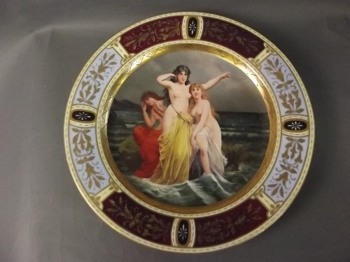 A large Vienna charger painted with 'The Sirens' to