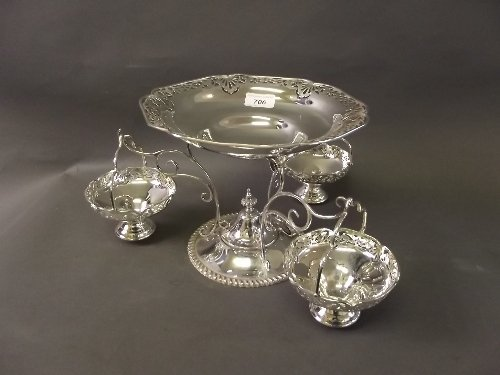 A silver plate epergne with pierced decoration and 3