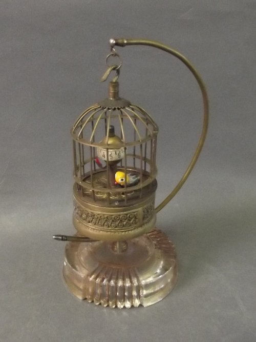 A brass handing birdcage automaton clock, 7¾'' high