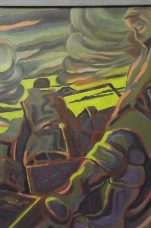 Rhona Hedges, 'Early Morning Fishing', oil on board,