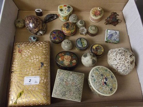 A quantity of Eastern boxes, shells, minerals, etc