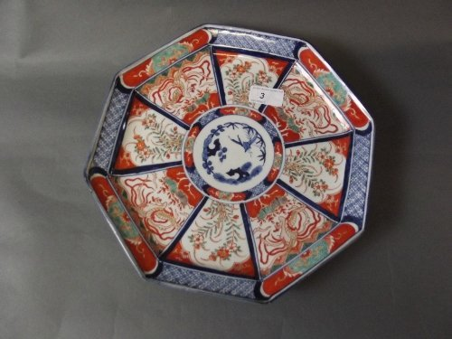 A C19th Japanese Imari octagonal dish painted with