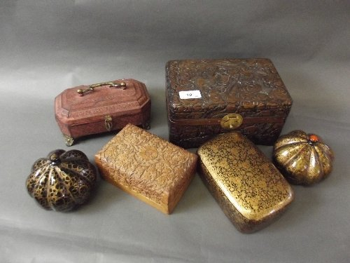 A quantity of Eastern lacquer, carved wood and metal
