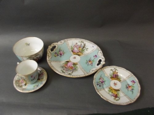 A C19th German hand painted cabinet cup and saucer, 2