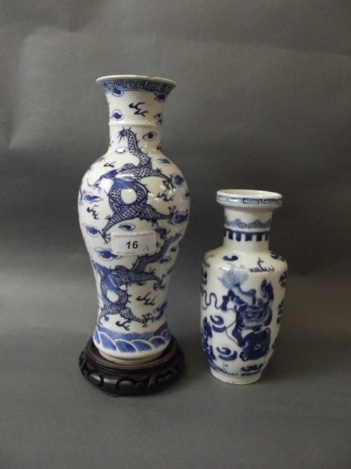 A C19th Chinese blue and white pottery vase painted