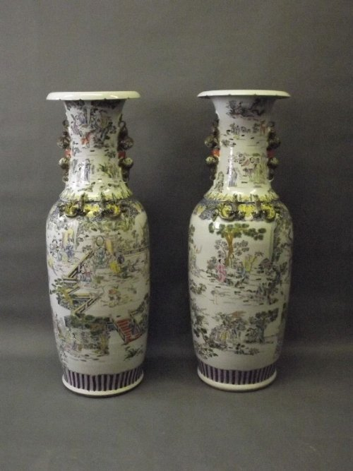 A fine large pair of mid C20th Chinese pottery floor