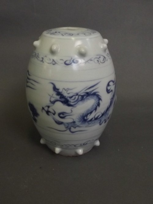 A Chinese blue and white pottery incense holder