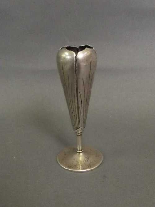 A Chinese White Metal Bud Vase Impressed Marks To Base