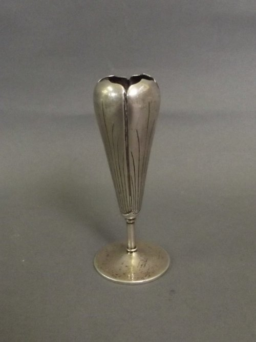 A Chinese white metal bud vase, impressed marks to base