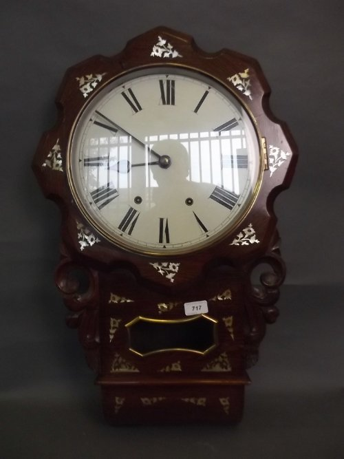 A C19th rosewood cased drop dial wall clock with Mother