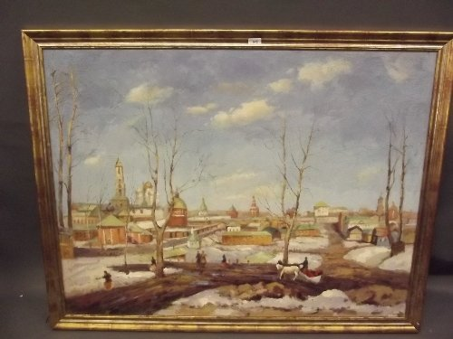 A large oil on canvas, Russian winter scene with figure