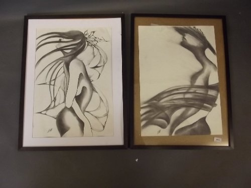 Katie Galbraith-Marten, pencil drawing, abstract figure