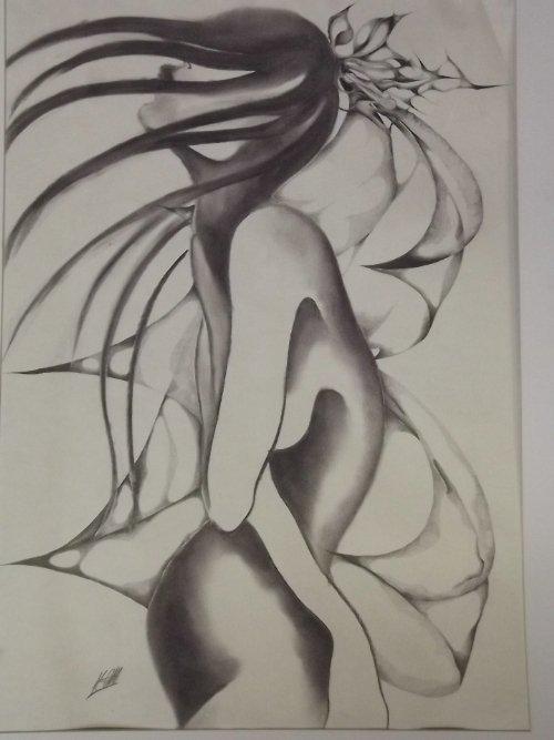 Katie Galbraith-Marten, pencil drawing, abstract figure - 2