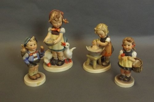 Four Hummel figures to include a girl with geese, a boy