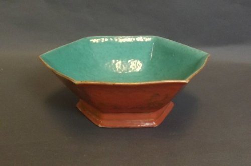 A Chinese green and orange glazed hexagonal shaped bowl