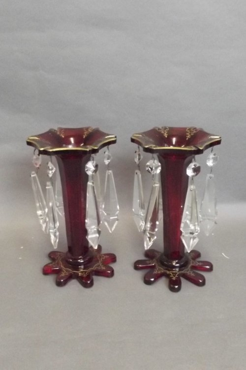 A pair of glass table lustres with cut glass drops, 9''