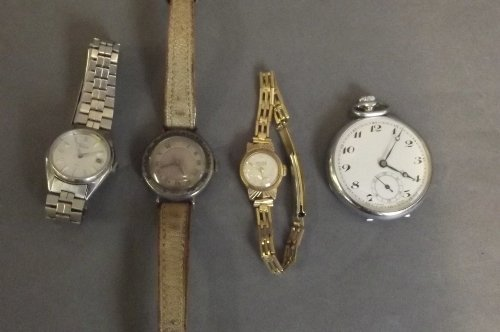 Three wristwatches and a pocket watch, 2'' diameter
