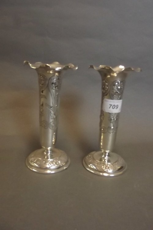 A pair of Art Nouveau silver plated specimen vases with