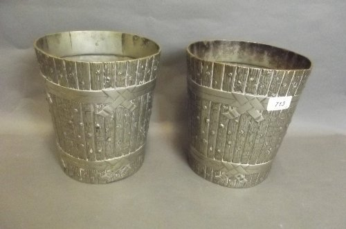 A pair of C19th Elkington & Co. silver plated ice bucke