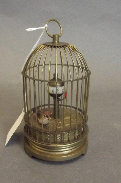 A small brass bird cage automaton clock, 5'' high