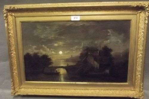 A C19th oil on canvas in the manner of Pether, moonlit