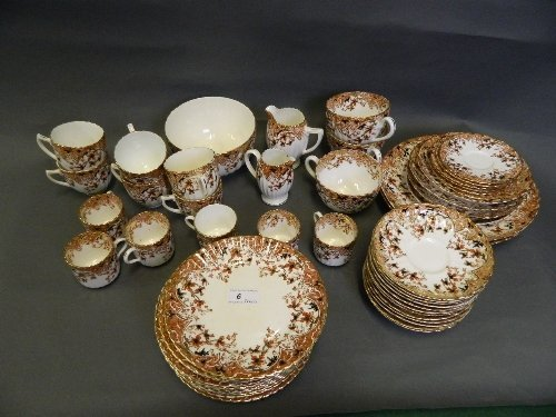 A C19th pottery Derby style tea service with fluted