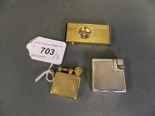 A Hallmarked 9ct gold lighter, 18g, a Dunhill lighter,