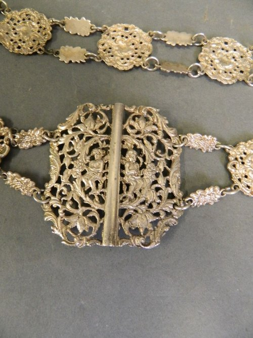 An ornate C19th pierced Continental silver belt
