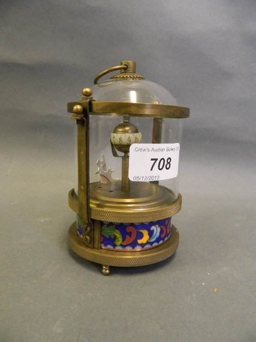 A cloisonné brass and glass automaton clock decorated