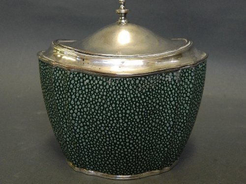 A C19th silver plate and faux shagreen tea caddy, 5½''
