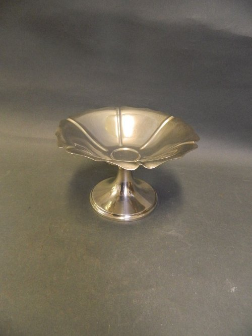 A sterling silver stem bowl in the form of a Tudor
