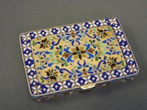 A Russian silver gilt and enamel plique-a-jour box,