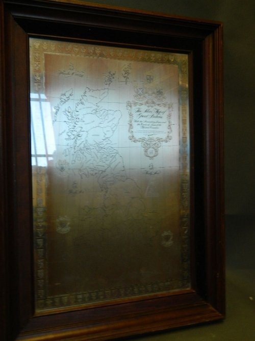 A silver framed map of Great Britain, Sheffield 1971,