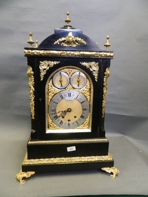 A large Victorian ebonised and ormolu bracket clock
