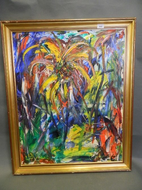 An expressionist oil on canvas, pineapple plant,