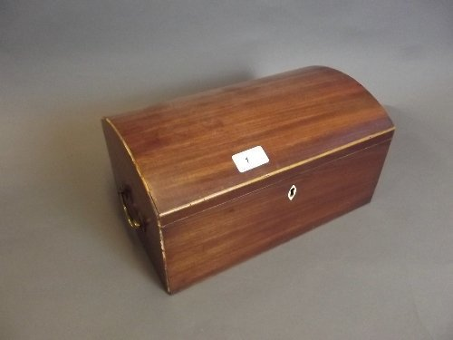 A George III mahogany dome topped box with an ivory