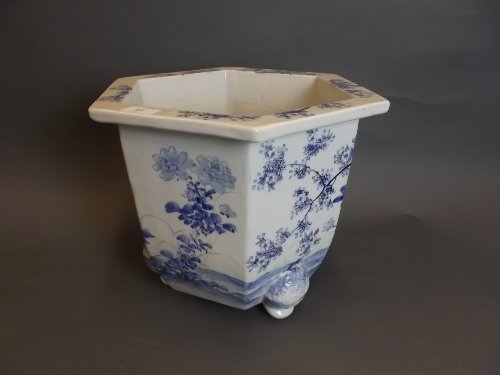 A large C19th Oriental blue and white hexagonal pottery