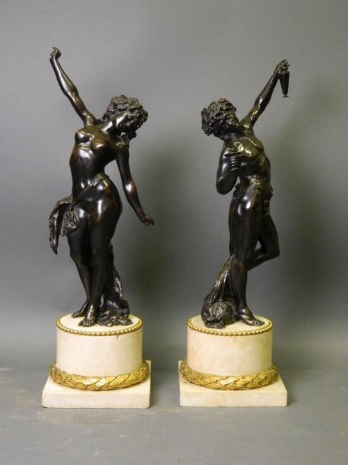 After Clodion, a fine pair of C19th bronzes depicting