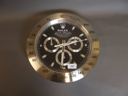 A Rolex style wall clock, 13¼'' diameter