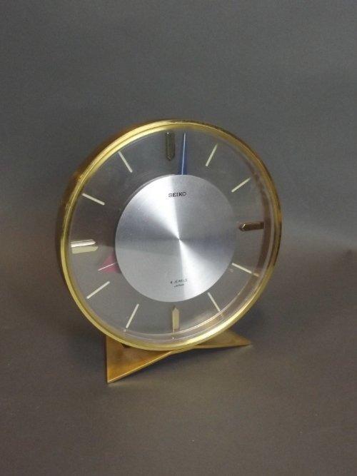 A boxed 'Seiko' brass desk clock, 5¼'' high