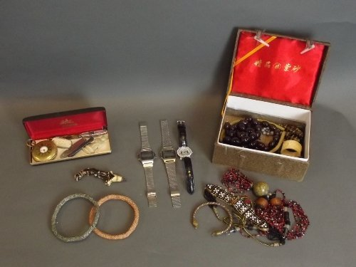 A quantity of costume jewellery, watches, pen knives